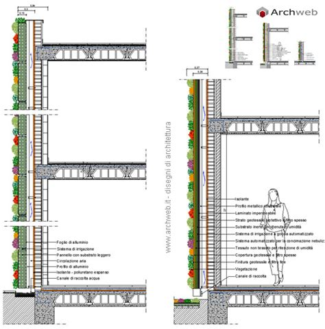 vasi dwg giardini verticali su muratura disegni dwg