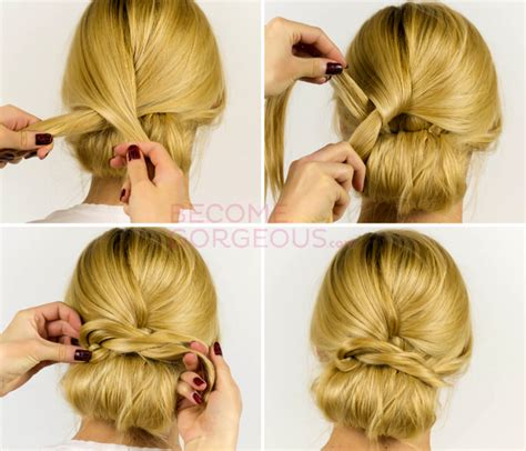 easy updo hairstyle tutorial for 21 easy hair updos step by step wodip