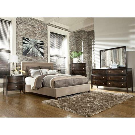 naomi bedroom set  beige upholstered bed signature design furniture cart