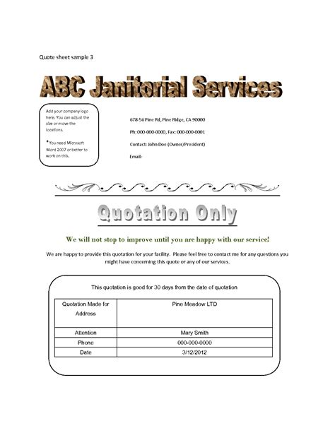 Cleaning Service Quote Letter Sle Cleaning Quotes Quotesgram