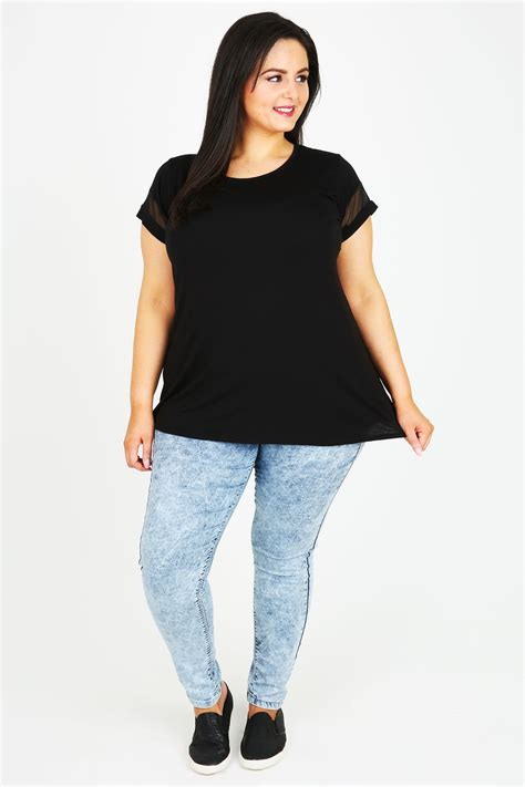 Mesh Sleeve Panel Top black jersey top with mesh panel sleeves plus sizes