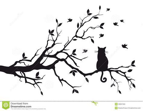 Birdcage Wall Stickers gato en una ramificaci 243 n de 225 rbol foto de archivo libre de