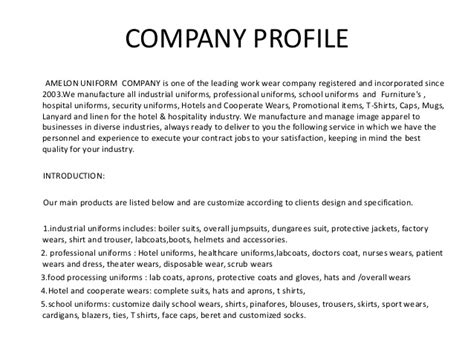 Introduction Letter For Trading Company Profile Amelon Trading Company Profile