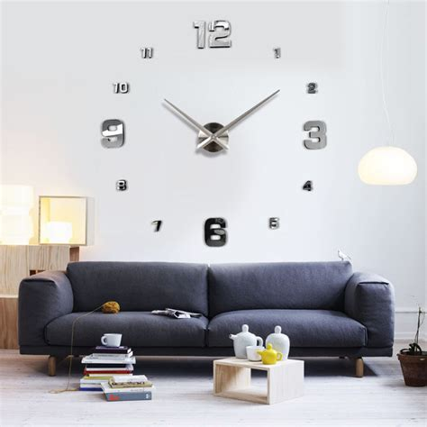 decoration home decor large art diy 3d wall clock design large diy 3d wall clock home decor mirror sticker art at
