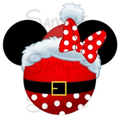 santa hat minnie head digital printable file diy