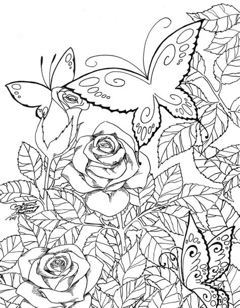 coloring pages for adults garden butterfly garden coloring pages spring pinterest