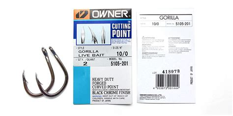 Owner Gorilla Live Bait Hooks Cutting Point Size 70 Qty 2 Pcs owner gorilia 5105 201 10 0 big live bait assist hook 1 owner s patch