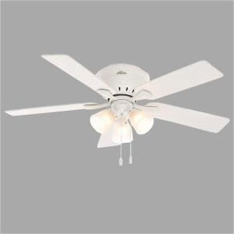 Home Depot Low Profile Ceiling Fan by Reinert 52 In Indoor Low Profile White Ceiling Fan With Light Kit 53011 The Home Depot
