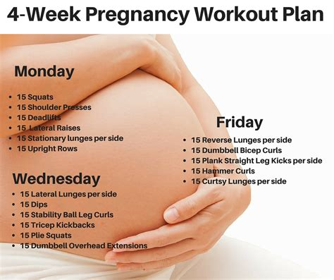 4 week pregnancy workout plan workout plans