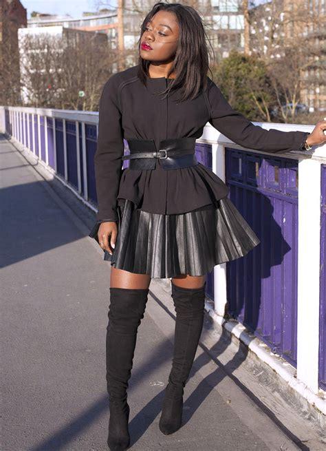 black peplum jacket leather skirt black the knee