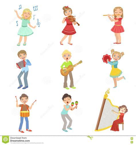 clipart bambini giocano bambini cantano e giocano gli strumenti di musica