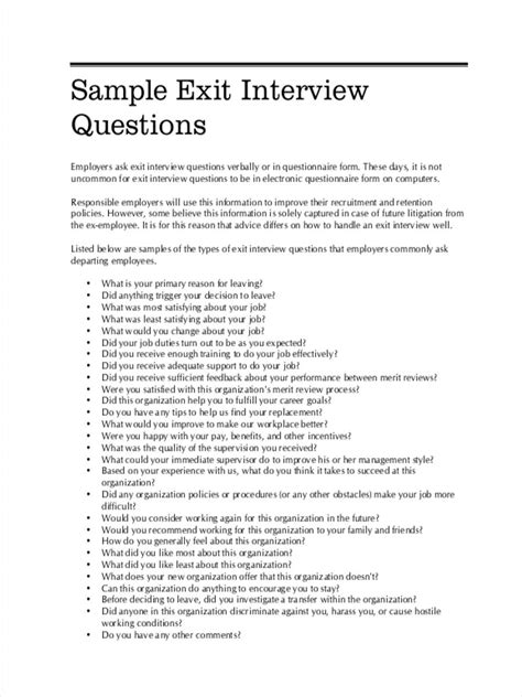 types of exit interview documents free pdf doc excel