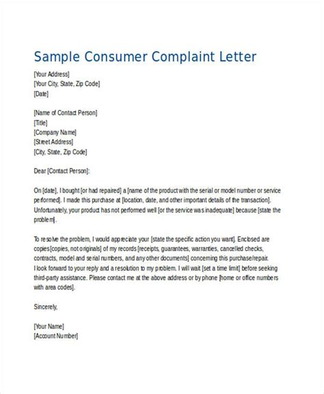 Customer Protection Letter Sle Consumer Complaint Form Sle Business Complaint