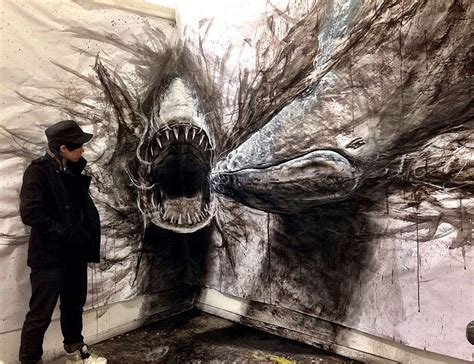 layout artist 3d eye popping dark three dimensional life sized drawings of