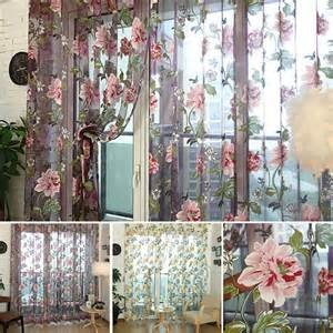 Floral Design Curtains New Tulle Shielding Floral Curtains Window Screen Bedroom Living Room Decorations Curtains Drape