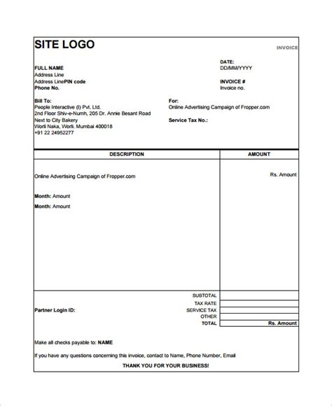 tax invoice template pdf simple invoice template hardhost info