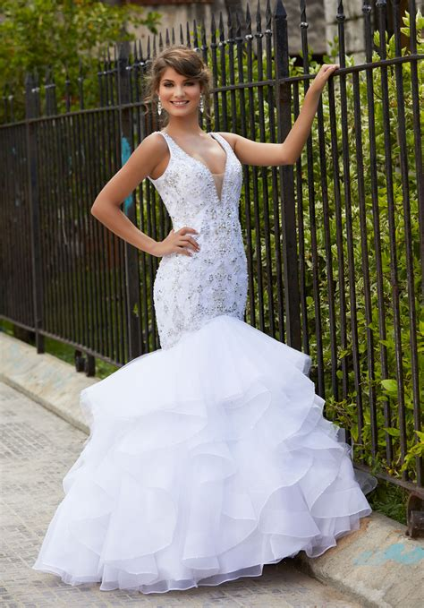 Wedding Dresses Prom Style by Tulle And Organza Mermaid Prom Dress With Intricately