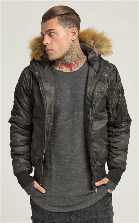 Hooded Camo Bomber Jacket siksilk jacket everest hooded bomber camo fredericks