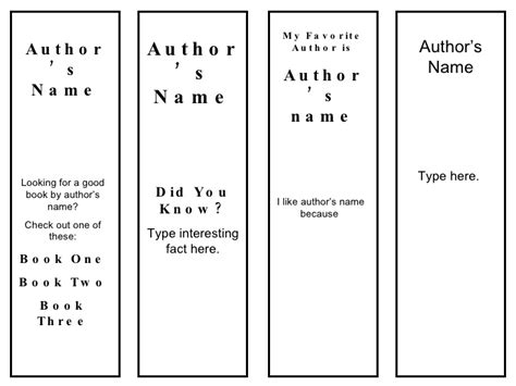 bookmark sizes template bookmarks favorite author template