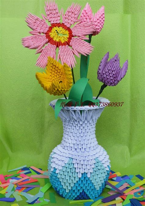 3d Origami For Sale - sale flower vase handmade by 3d origami paper child
