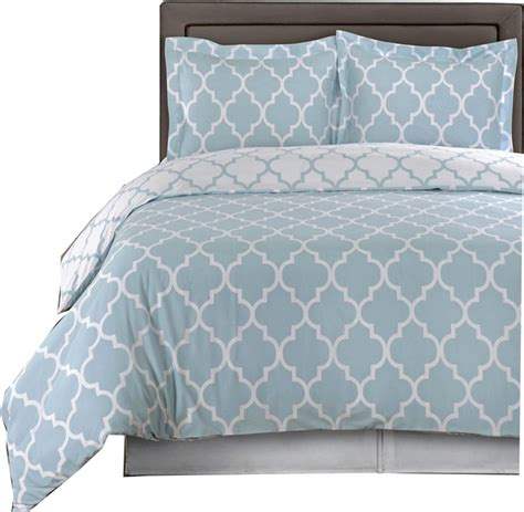 meridian egyptian cotton duvet cover set blue and white