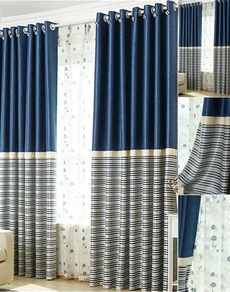navy blue black out curtains brief navy blue blackout living room ready made striped