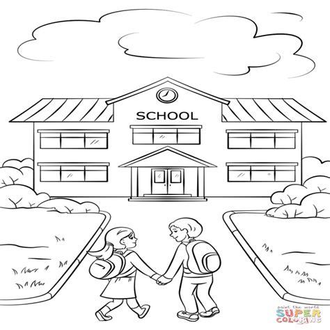 dibujos nios en la escuela dibujo de chico y chica van a la escuela para colorear