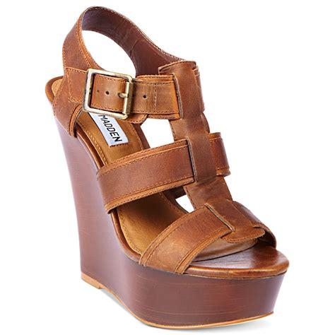 madden wedge sandals steve madden wanting platform wedge sandals in brown lyst