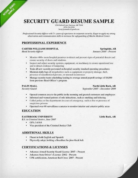 resume format for security guard security officer resume sle jennywashere