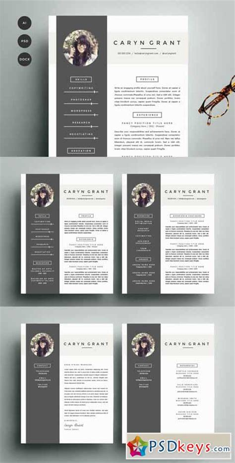 Resume Cv Template By Gresume Torrent Resume Template 4 Pack Cv Template 140531 187 Free