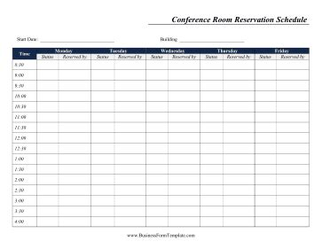 Weekly Conference Room Reservation Template Reservation Calendar Template