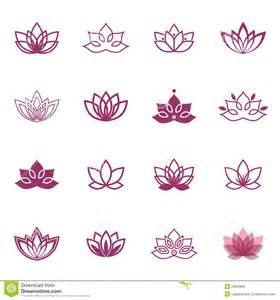 Decorative Stitch Lotus Symbol Icons Vector Floral Labels For Wellness