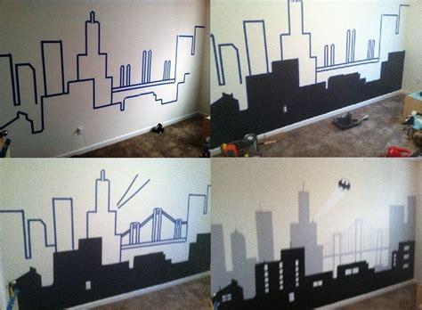 Batman Room Decor My Batman Gotham City Wall Mural Home Is Where The Is Pinterest Gotham City Gotham