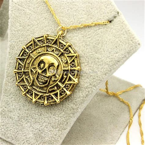 Of The Caribbean Gold Skull Coin Necklace wholesale aztec coin of the caribbean aztec gold