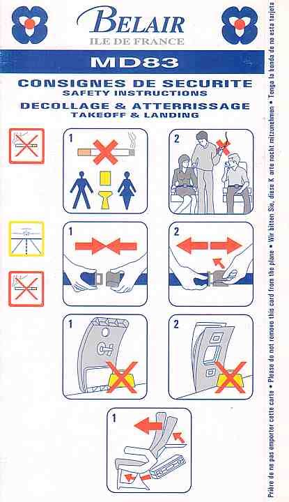 Belair Airline Safety Card For Belair Md83 Jpg