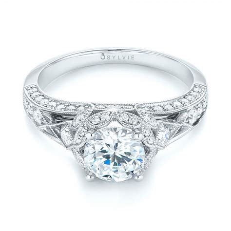 vintage inspired halo engagement ring 103058