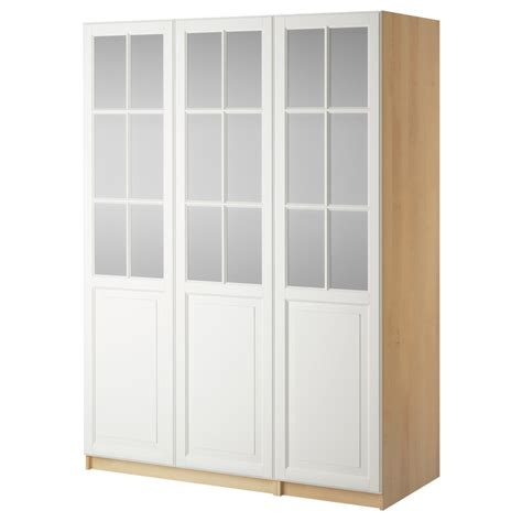 Ikea Pax Closet Doors Stenstorp Kitchen Cart White Oak Pax Wardrobe And Frosted Glass
