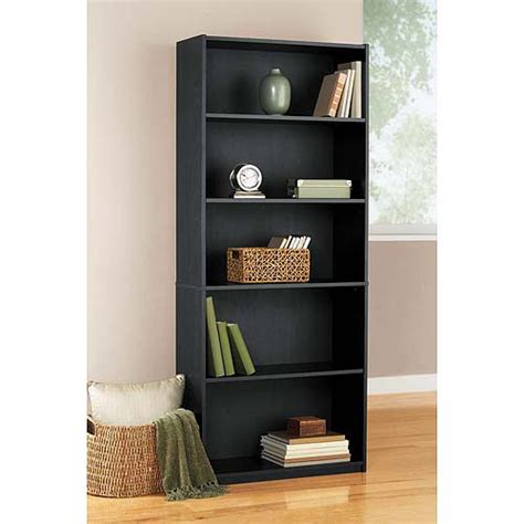 walmart book shelves mainstays 5 shelf bookcase black furniture walmart