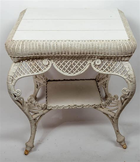 white wicker table for sale at 1stdibs