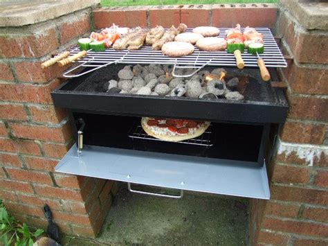 pit bbq grill insert brick bbq with oven underneath outdoors and gardening
