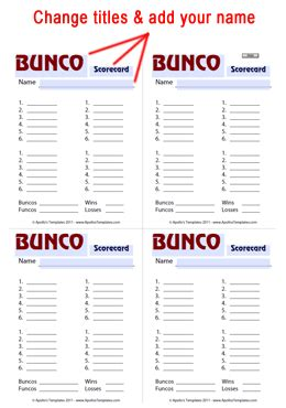 free bunco scorecard template printable bunco score cards score sheet templates