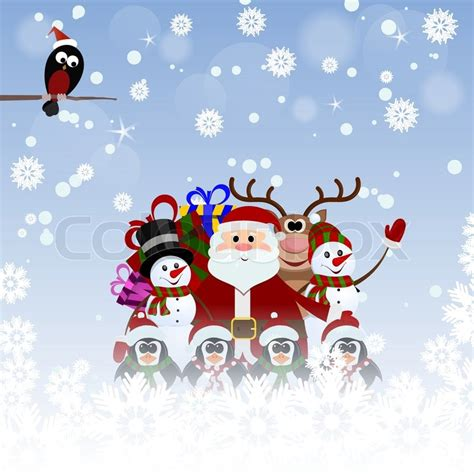 snowman and reindeer greeting card with santa claus reindeer