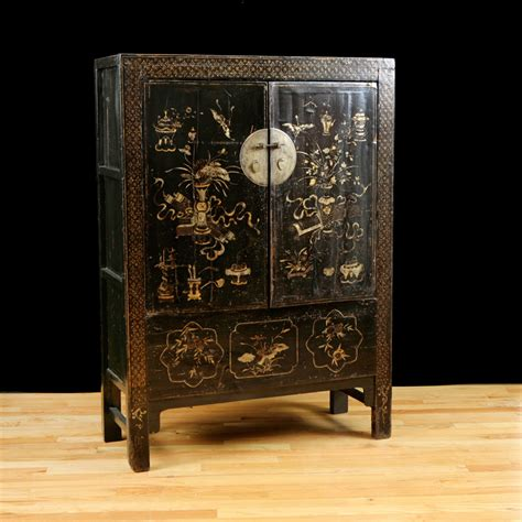 Art Deco Dining Room Table by Antique Chinese Qing Cabinet With Original Polychrome