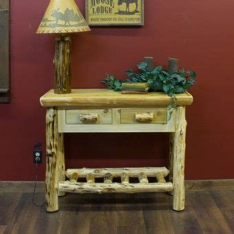 cedar log sofa table personalize the 2 drawer cedar log sofa table to fit your