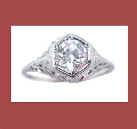white sapphire 14k white gold filigree ring
