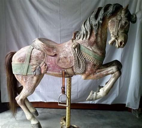 antique carousel horse  dentzel western saddle prancer