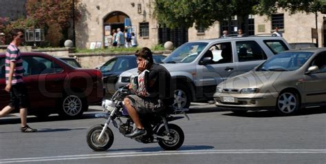 Mini Motorrad Mobile by On Mini Motorbike Driving And Talking In A Mobile