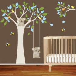 Nursery Wall Decals Etsy Nursery Wall Decal Tree With Swing Branch
