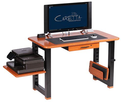desk with printer space large shelf for loft desk cherry caretta workspace