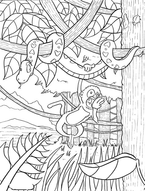 coloring page jungle rainforest coloring pages coloring pages to print
